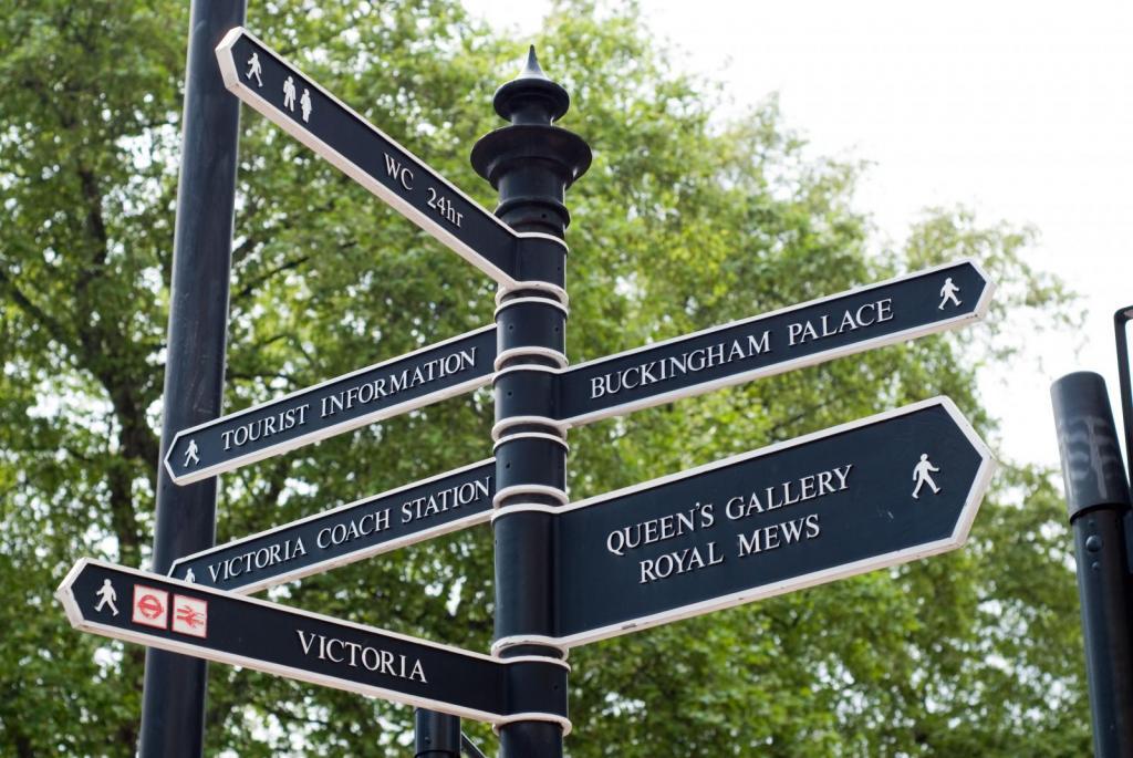 Blauer Wegweiser zum Buckingham Palast