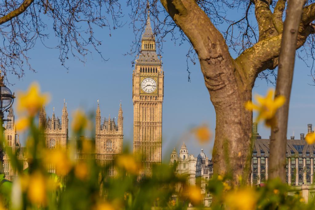 Big Ben in bestem Londoner Sonnenschein