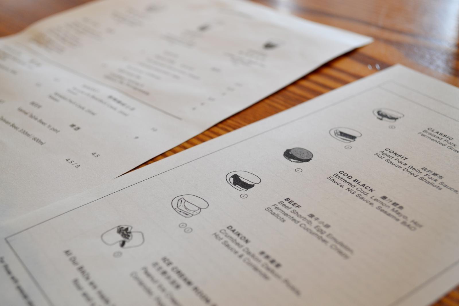 Die Speisekarte des Bao in Fitzrovia in London